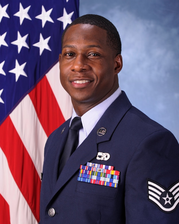 Staff Sgt. Antoine L. Thompson, 325th Logistics Readiness Squadron special handling NCO in charge poses for a photo Jan. 29, 2016. Thompson was selected as the 325th LRS unsung hero.