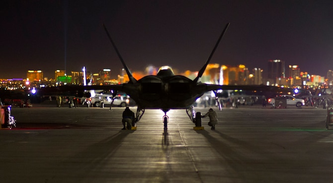 A Tyndall F-22 Raptor is ready to taxi and take off during Red Flag 16-1, Jan. 26 at Nellis AFB, Nev.  Tyndall's F-22 Raptors bring a lot to the exercise as the jet's stealth capabilities, advanced avionics, communication and sensory capabilities help augment the capabilities of the other aircraft. (U.S. Air Force photo by Senior Airman Alex Fox Echols III/Released)