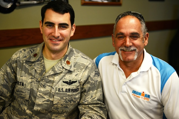 Maj. Stephen Rausa with retired Master Sgt. Ben Rausa (not related) during their first meeting Jan. 25 at Hurlburt Field, Florida, since becoming pen pals 25 years ago. (U.S. Air Force photo/Mike Raynor)