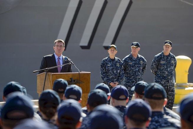 Defense Secretary Ash Carter speaks to sailors during a troop event in San Diego, Feb. 3, 2016. Carter is visiting the area to tour facilities and discuss the fiscal year 2017 defense budget proposal and its impact on the defense community. DoD photo by Navy Petty Officer 1st Class Tim D. Godbee