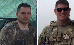 Staff Sgt. Louis Bonacasa, left, and Tech Sgt. Joseph Lemm, both members of the New York Air National Guard's 105th Airlift Wing's 105th Base Defense Squadron, killed in action in Afghanistan on Dec. 21, 2015, have been awarded the Bronze Star with V for Valor for their actions that day. The two Air Guardsmen were honored for giving their lives to save other Airmen from a suicide bomber. Four other Airmen died alongside them.