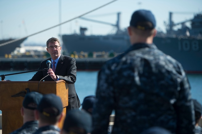 Defense Secretary Ash Carter answers a sailor's question  during a troop event on Naval Base San Diego, Calif., Feb. 3, 2016. DoD photo by Navy Petty Officer 1st Class Tim D. Godbee