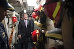 Defense Secretary Ash Carter tours the USS Spruance at Naval Base San Diego, Calif., Feb. 2, 2016. Carter is meeting this week with troops and members of the defense community to preview the proposed fiscal year 2017 defense budget. DoD photo by Navy Petty Officer 1st Class Tim D. Godbee