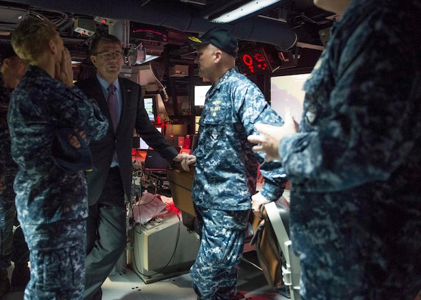 Defense Secretary Ash Carter speaks to Navy leaders on USS Spruance on Naval Base San Diego, Calif., Feb. 3, 2016. Carter is meeting this week with troops and members of the defense community to preview the proposed fiscal year 2017 defense budget. DoD photo by Navy Petty Officer 1st Class Tim D. Godbee