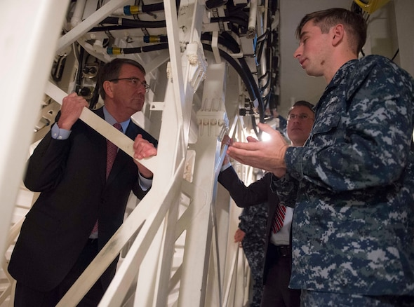 Defense Secretary Ash Carter talks to sailors during a tour of USS Spruance on Naval Base San Diego, Calif., Feb. 3, 2016. DoD photo by Navy Petty Officer 1st Class Tim D. Godbee