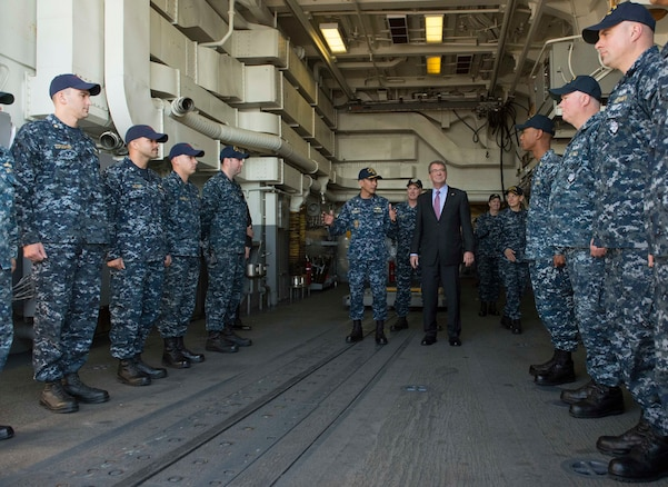 Defense Secretary Ash Carter meets with the crew of USS Spruance on Naval Base San Diego, Calif., Feb. 3, 2016. Carter is meeting this week with troops and members of the defense community to preview the proposed fiscal year 2017 defense budget. DoD photo by Navy Petty Officer 1st Class Tim D. Godbee