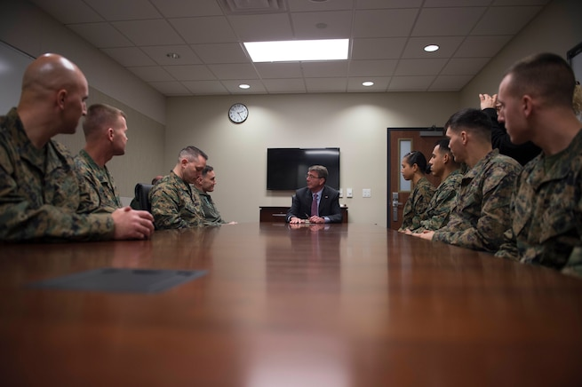Defense Secretary Ash Carter speaks with Marines on Marine Corps Air Station Miramar, Calif., Feb. 3, 2016. Carter is meeting this week with troops and members of the defense community to preview the proposed fiscal year 2017 defense budget. DoD photo by Navy Petty Officer 1st Class Tim D. Godbee