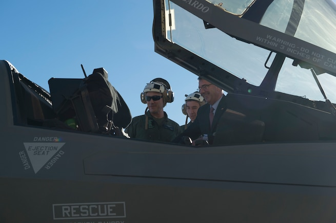 Defense Secretary Ash Carter looks into the cockpit of a F-35B on Marine Corps Air Station Miramar, Calif., Feb. 3, 2016. Carter is meeting this week with troops and members of the defense community to preview the proposed fiscal year 2017 defense budget. DoD photo by Navy Petty Officer 1st Class Tim D. Godbee