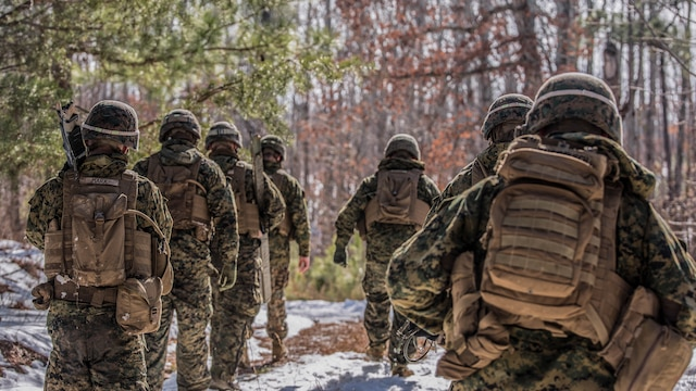 Combat engineers and assaultmen with 3rd Battalion, 2nd Marine Regiment, march toward a Bangalore torpedo impact zone during a Deployment for Training exercise at Fort A.P. Hill, Va., Jan 28, 2016. The range was intended to ensure Marines maintain weapon systems proficiency while preparing them for their upcoming deployment to Okinawa, Japan.