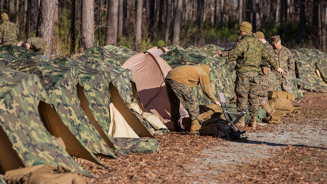 Marines with 3rd Battalion, 2nd Marine Regiment, set up two-man tents during a Deployment for Training exercise at Fort A.P. Hill, Va., Jan. 29, 2016. Marines are required to retain knowledge of even the most basic survival skills to ensure they are prepared for any challenges they may face in their upcoming deployment to Okinawa, Japan.