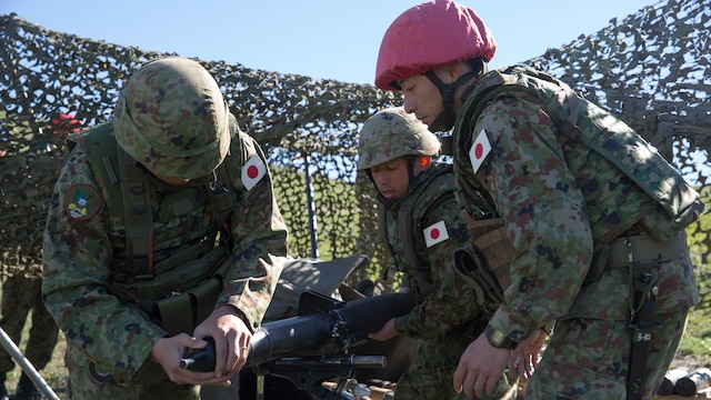 A Japan Ground Self-Defense Force mortar team demonstrates misfire procedures during an Exercise Iron Fist 2016 training event, aboard Marine Corps Base Camp Pendleton, Calif., Feb. 1, 2016. Exercise Iron Fist is an annual bilateral training exercise where U.S. and Japanese service members train together and share one another's skills and tactics to improve their combined operational capabilities.