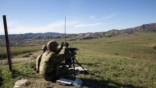 Japan Ground Self-Defense Force Forward Observers, call out targets to their mortar teams during an Exercise Iron Fist 2016 training event, aboard Marine Corps Base Camp Pendleton, Calif., Feb. 1, 2016 Exercise Iron Fist is the largest bilateral exercise conducted by I Marine Expeditionary Force and is aimed at improving the combined amphibious operation capabilities of the U.S. and Japan.