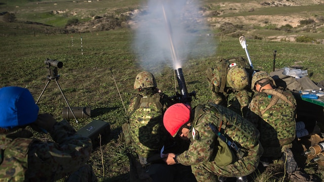 A Japan Ground Self-Defense Force mortar team fires an 81mm mortar during an Exercise Iron Fist 2016 training event, aboard Marine Corps Base Camp Pendleton, Calif., Feb 1, 2016  Exercise Iron Fist is an annual bilateral training exercise where U.S. and Japanese service members train together and share one another's skills and tactics, and improve their combined operational capabilities.