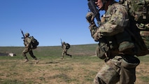 Soldiers of the Japan Ground Self-Defense Force's Western Army Infantry Regiment Scout Sniper program sprint to a new position while conducting break contact drills during an abbreviated scout sniper course at Exercise Iron Fist 2016 on Marine Corps Base Camp Pendleton, Calif., Feb. 1, 2016. Iron Fist is an annual, bilateral amphibious assault exercise focused on the strengthening of amphibious operations between the U.S. Marine Corps and the JGSDF. Small scout sniper teams can be used prior to an amphibious assault to conduct reconnaissance and eliminate key targets.