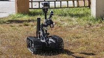 The MK-2 Mod 1 Talon, an Explosive Ordnance Disposal robot controlled by Marines with EOD Company, 8th Engineer Support Battalion, is used instead of Marines to acquire initial visuals of an improvised explosive device during an IED access training exercise aboard Camp Lejeune, N.C., Jan. 29, 2016. During the exercise, evaluators assessed Marines on safely locating and disposing of an IED while suppressing the full capabilities of the threat.