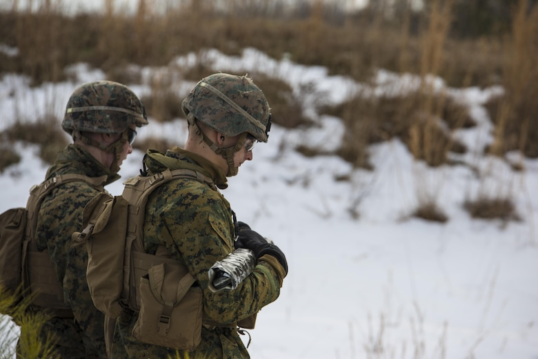 Marines with 3rd Battalion, 2nd Marine Regiment, walk toward a Bangalore torpedo impact zone during a Deployment for Training exercise at Fort A.P. Hill, Va., Jan. 28, 2016. The Marines applied their skills on the range to ensure they are capable of handling different combat situations despite adverse weather conditions. The larger ranges the base offered allowed the Marines to train on greater scale before their upcoming deployment to Okinawa, Japan. (U.S. Marine Corps photo by Lance Cpl. Samuel Guerra/Released)