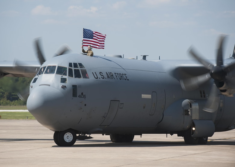 A C-130J taxis onto the flightline after returning from supporting operations in Southwest Asia Sept. 15, 2015, at Little Rock Air Force Base, Ark. (U.S. Air Force photo by Senior Airman Scott Poe)