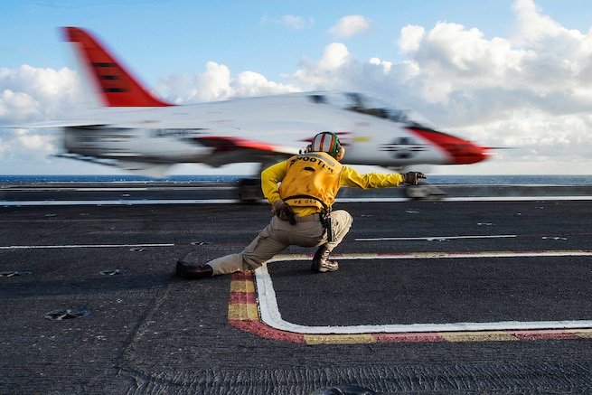 A T-45C Goshawk launches from the flight deck of the aircraft carrier USS Dwight D. Eisenhower in the Atlantic Ocean, Feb. 3, 2016. The Eisenhower is underway preparing for an upcoming inspection and conducting carrier qualifications. Navy photo by Petty Officer 3rd Class Anderson W. Branch