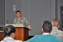 "Senior Airman Frank Eubanks, Air Reserve Personnel Center DD214 form processor, addresses the audience Feb. 4, 2016, during ARPC's February Leadership Seminar at the ARPC headquarters building on Buckley Air Force Base, Colo. Eubanks discussed his topic ""Standing on Giants Shoulders."" The purpose of these seminars is to share views on leadership in a university-type setting from all levels of leaders; not just senior leaders. Leadership seminars are held monthly and are open to all ARPC personnel. (U.S. Air Force photo/Tech. Sgt. Rob Hazelett)"