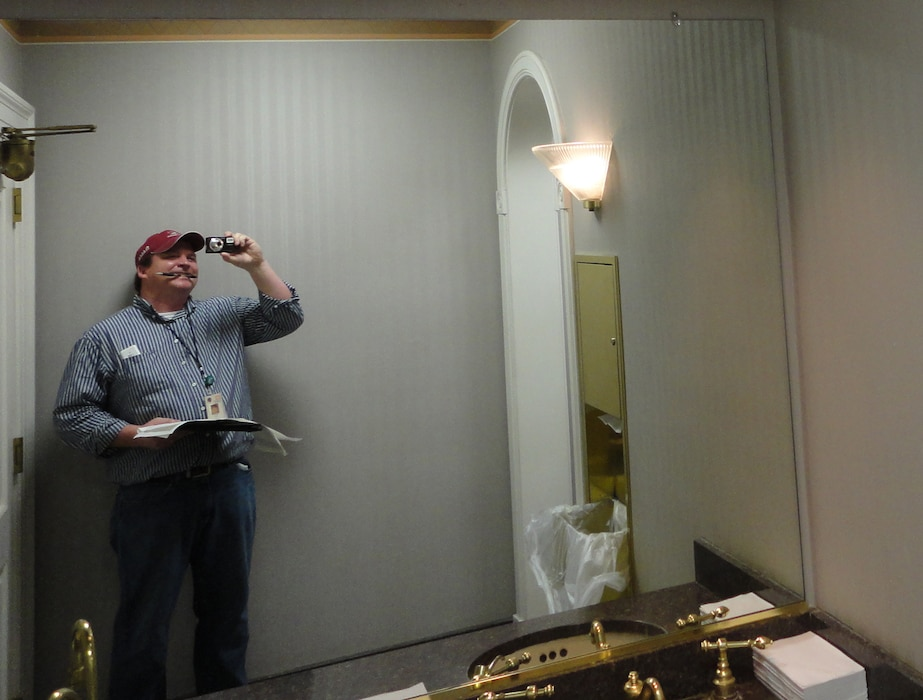 Lighting and HVAC data gathering during an energy audit at Mississippi River Commission office in Vicksburg, Mississippi.