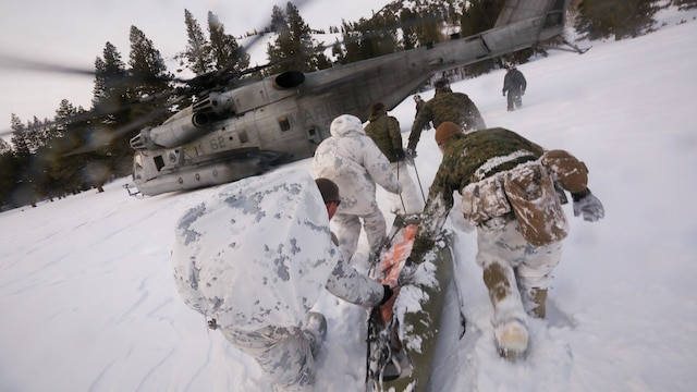 Marines with Company A, 2nd Assault Amphibian Battalion, rush toward a CH-53E Super Stallion with a simulated avalanche victim at the Mountain Warfare Training Center in Bridgeport, California, Jan. 20, 2016. Marines across II Marine Expeditionary Force and 2d Marine Expeditionary Brigade took part in the training in preparation for Exercise Cold Response 16 in Norway this March. The exercise will feature military training including maritime, land and air operations that underscore NATO's ability to defend against any threat in any environment.
