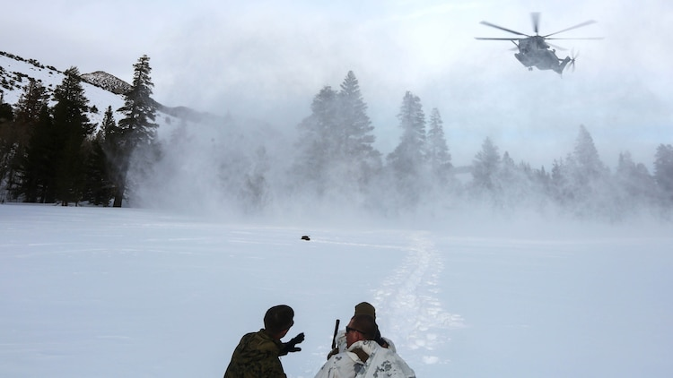 Marines with 2nd Platoon, Company A, 2nd Assault Amphibian Battalion, radio in a CH-53E Super Stallion as part of their avalanche scenario at the Mountain Warfare Training Center in Bridgeport, California, Jan. 20, 2016.  Marines across II Marine Expeditionary Force and 2nd Marine Expeditionary Brigade took part in the scenario as part of Mountain Exercise 1-16 in preparation for Exercise Cold Response 16.1 in Norway this March. The exercise will feature military training including maritime, land and air operations that underscore NATO's ability to defend against any threat in any environment.