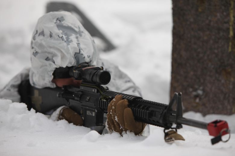 Lance Cpl. Jason M. Jones provides security during a simulated ambush during cold weather training at Marine Corps Mountain Warfare Training Center, Calif., Jan. 21, 2016. The cold weather training done in the Sierra Mountains is a warm-up to Exercise Cold Response 1-16 in Norway. Nearly 80 Marines with 2nd LAAD Bn. participated in the two-weeklong exercise that taught basic mobility in snow, defensive and offensive tactics as well as basic cold weather and high altitude conditions training. Jones is a low altitude air defense gunner with 2nd Low Altitude Air Defense Battalion.