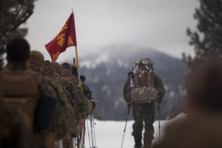 Marines hike up a mountain during cold weather training at Marine Corps Mountain Warfare Training Center, Calif., Jan. 21, 2016. The cold weather training done in the Sierra Mountains is a warm-up to Exercise Cold Response 1-16 in Norway. Nearly 80 Marines with 2nd LAAD Bn. participated in the two-weeklong exercise that taught basic mobility in snow, defensive and offensive tactics as well as basic cold weather and high altitude conditions training.