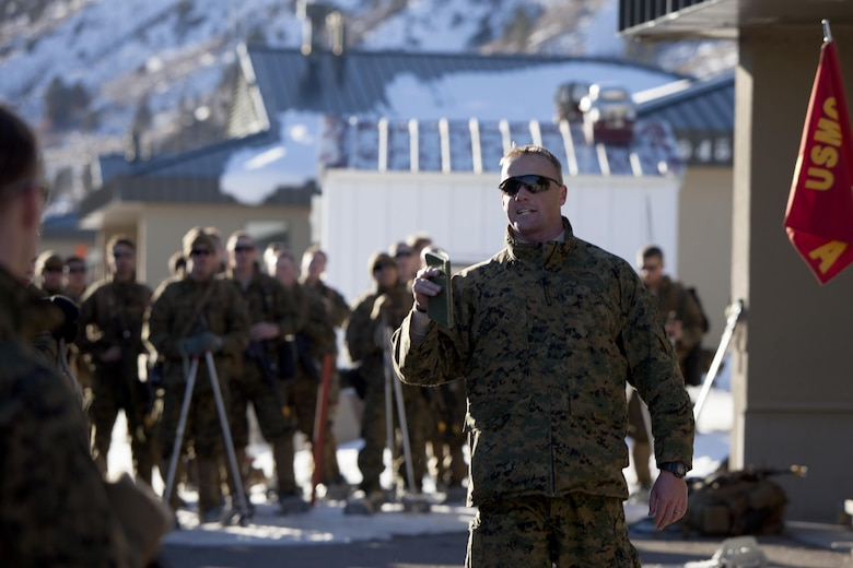 Marines are motivated by senior leadership following a hike during cold weather training at Marine Corps Mountain Warfare Training Center, Calif., Jan. 21, 2016. The cold weather training done in the Sierra Mountains is a warm-up to Exercise Cold Response 1-16 in Norway. Nearly 80 Marines with 2nd LAAD Bn. participated in the two-weeklong exercise that taught basic mobility in snow, defensive and offensive tactics as well as basic cold weather and high altitude conditions training.