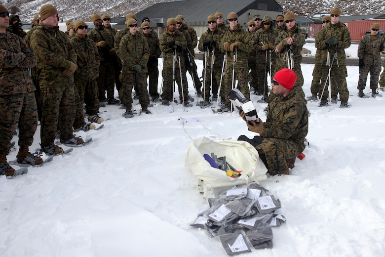 Staff Sgt. Cameron Golden instructs 2nd Low Altitude Air Defense Battalion Marines on how to properly use snowshoes during cold weather training at Marine Corps Mountain Warfare Training Center, Calif., Jan. 21, 2016. The cold weather training done in the Sierra Mountains is a warm-up to Exercise Cold Response 1-16 in Norway. Nearly 80 Marines with 2nd LAAD Bn. participated in the two-weeklong exercise that taught basic mobility in snow, defensive and offensive tactics as well as basic cold weather and high altitude conditions training. Golden is a mountain warfare instructor at the MWTC.