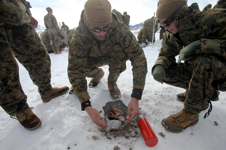 Cpl Michael B. Jaques and his teammate Cpl. Justin Resnick puts the finishing touches on a fire during cold weather training at Marine Corps Mountain Warfare Training Center, Calif., Jan. 21, 2016. The cold weather training done in the Sierra Mountains is a warm-up to Exercise Cold Response 1-16 in Norway. Nearly 80 Marines with 2nd LAAD Bn. participated in the two-weeklong exercise that taught basic mobility in snow, defensive and offensive tactics as well as basic cold weather and high altitude conditions training. Both Jaques and Resnick are low altitude air defense gunners with 2nd LAAD Bn.