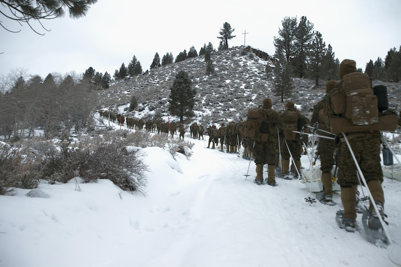Marines hike up a steep incline to further acclimate themselves to the altitude of the Sierra Mountains during cold weather training at Marine Corps Mountain Warfare Training Center, Calif., Jan. 21, 2016. The cold weather training done in the Sierra Mountains is a warm-up to Exercise Cold Response 1-16 in Norway. Nearly 80 Marines with 2nd LAAD Bn. participated in the two-weeklong exercise that taught basic mobility in snow, defensive and offensive tactics as well as basic cold weather and high altitude conditions training.