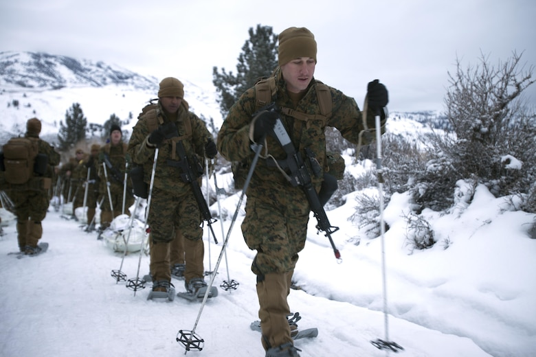 Cpl. Tyler D. Castner leads Marines up a mountain during cold weather training at Marine Corps Mountain Warfare Training Center, Calif., Jan. 21, 2016. The cold weather training done in the Sierra Mountains is a warm-up to Exercise Cold Response 1-16 in Norway. Nearly 80 Marines with 2nd LAAD Bn. participated in the two-weeklong exercise that taught basic mobility in snow, defensive and offensive tactics as well as basic cold weather and high altitude conditions training. Castner is a low altitude air defense gunner with 2nd Low Altitude Air Defense Battalion.