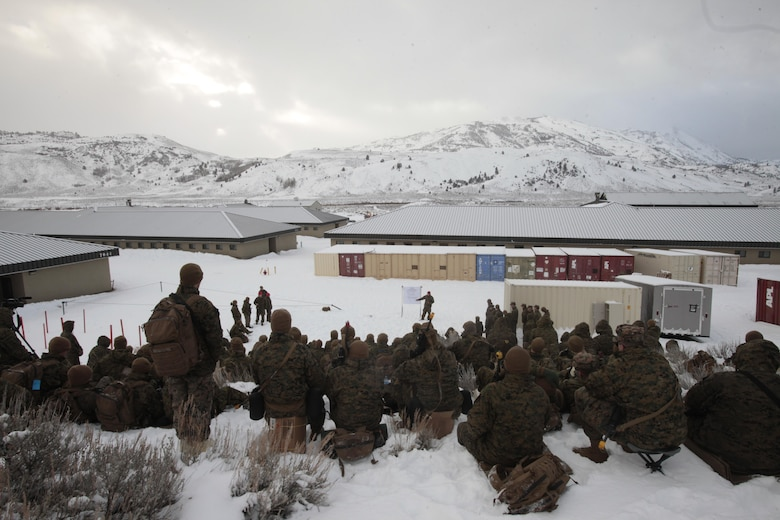 Marines take a cold weather survival class during cold weather training at Marine Corps Mountain Warfare Training Center, Calif., Jan. 21, 2016. The cold weather training done in the Sierra Mountains is a warm-up to Exercise Cold Response 1-16 in Norway. Nearly 80 Marines with 2nd LAAD Bn. participated in the two-weeklong exercise that taught basic mobility in snow, defensive and offensive tactics as well as basic cold weather and high altitude conditions training.