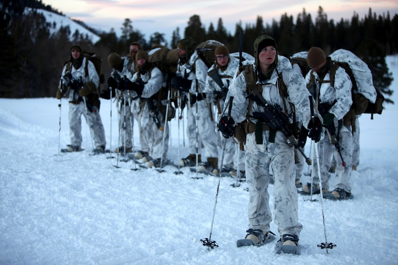 Marines utilize an administrative break to check their gear before continuing a hike up a the Sierra Mountain during cold weather training at Marine Corps Mountain Warfare Training Center, Calif., Jan. 21, 2016. The cold weather training done in the Sierra Mountains is a warm-up to Exercise Cold Response 1-16 in Norway. Nearly 80 Marines with 2nd LAAD Bn. participated in the two-weeklong exercise that taught basic mobility in snow, defensive and offensive tactics as well as basic cold weather and high altitude conditions training.