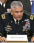 Army Gen. John Campbell, commander of U.S. Forces in Afghanistan, testifies before the Senate Armed Services Committee, Feb. 4, 2016. DoD screen shot