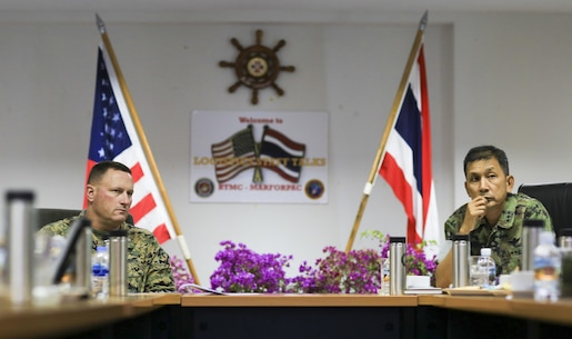 Royal Thai Marine Corps Col. Pichit Wadvaree (right), chief of staff and U.S. Marine Corps Col. Kurt Kempster, assistant chief of staff G-4, with U.S. Marine Corps Forces, Pacific, meet, during exercise Cobra Gold 2016, in Sattahip, Thailand, Feb. 1, 2016. Cobra Gold is designed to strengthen regional cooperation and collaboration, increase the ability of participating nations to work together on complex multilateral operations such as counter piracy and the delivery of humanitarian assistance and disaster relief.