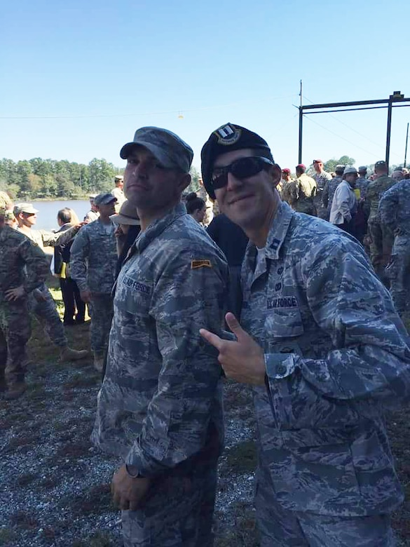 Staff Sgt. Robert Keefe, 736th Security Forces Squadron NCO in charge of training, poses with his then-executive officer, Capt. Nathaniel Lesher, after graduating from the U.S. Army's Ranger School Oct. 16, 2015 at Fort Benning, Ga. Keefe is the 266th Airmen to graduate from the demanding leadership school. (Courtesy Photo)