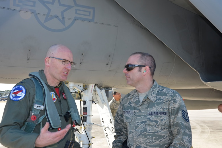 From the 142nd Fighter Wing, Portland, Oregon, Col. Paul Fitzgerald, wing commander and F-15 Eagle pilot, talks with Tech. Sgt. John Cloutier, F-15 crew chief, on the flightline at Tyndall Air Force Base, following a Combat Archer sortie Jan. 29. Combat Archer is a two-week weapon systems evaluation program where participants load, fly and shoot live missiles and subsequently evaluate the entire process to validate whether the weapon performs according to established specifications. (Air Force Photo Released/Mary McHale)