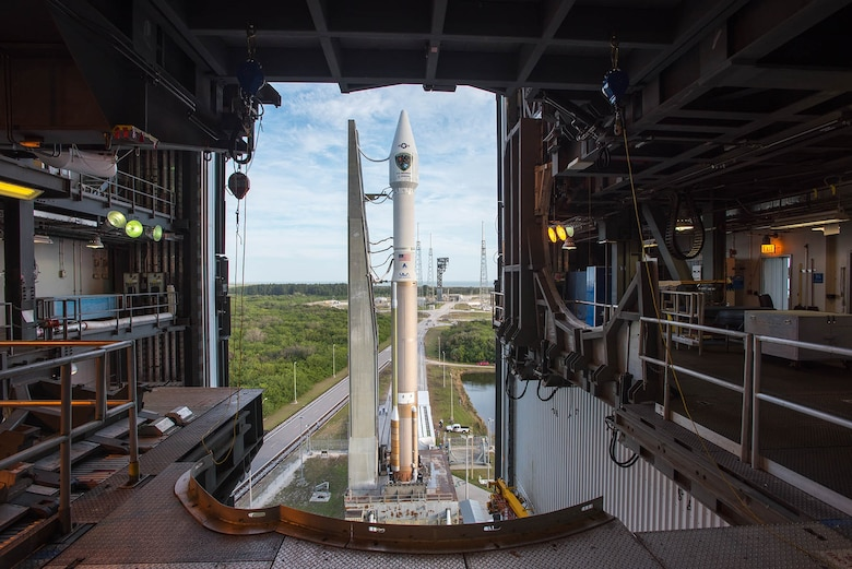 A United Launch Alliance Atlas V rocket with the GPS IIF-12 satellite, is rolled from the Vertical Integration Facility to the pad at Space Launch Complex-41, Cape Canaveral Air Force Station, Florida. Liftoff is scheduled for Feb. 5. The launch window opens at 8:38 a.m. EST (5:38 a.m. PST) and will remain open for 19 minutes. (Courtesy photo: ULA)