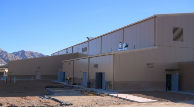 This fuel cell hangar at Nellis Air Force Base, Nevada, serve the F-35 Lightning II fleet. (U.S. Air Force Photo)