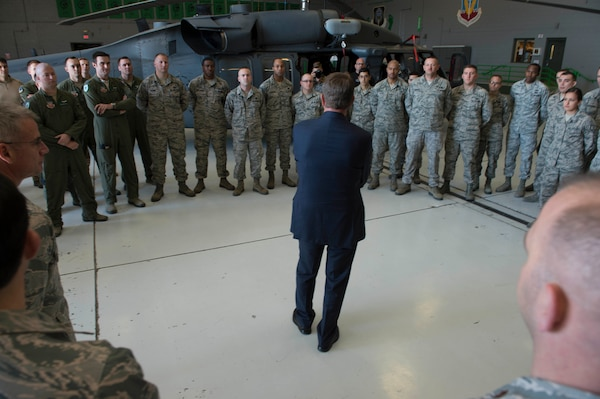 Defense Ash Carter speaks to airmen assigned to the 66th Rescue Squadron on Nellis Air Force Base, Nev., Feb. 4, 2016. DoD photo by Navy Petty Officer 1st Class Tim D. Godbee