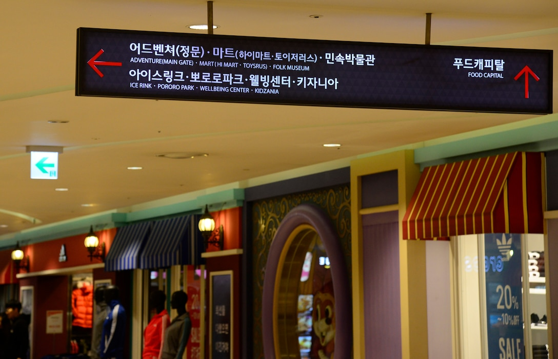 A sign points toward the entrance of a theme park and ice rink in the Lotte World Mall, Feb. 2, 2016. The mall features hundreds on stores and restaurants and is centrally located at Jamsil Station in Seoul. (U.S. Air Force photo by Senior Airman Kristin High/Released)