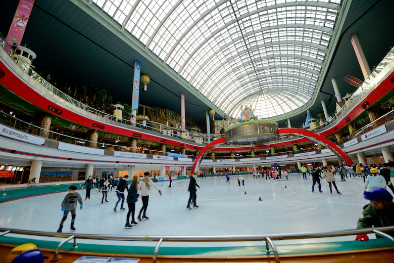 The Lotte World Mall is filled with hundreds of stores and restaurants and includes an entire indoor theme park and ice rink for families to visit. Lotte World and Lotte World Mall is centrally located at Jamsil Station in Seoul. (U.S. Air Force photo by Senior Airman Kristin High/Released)