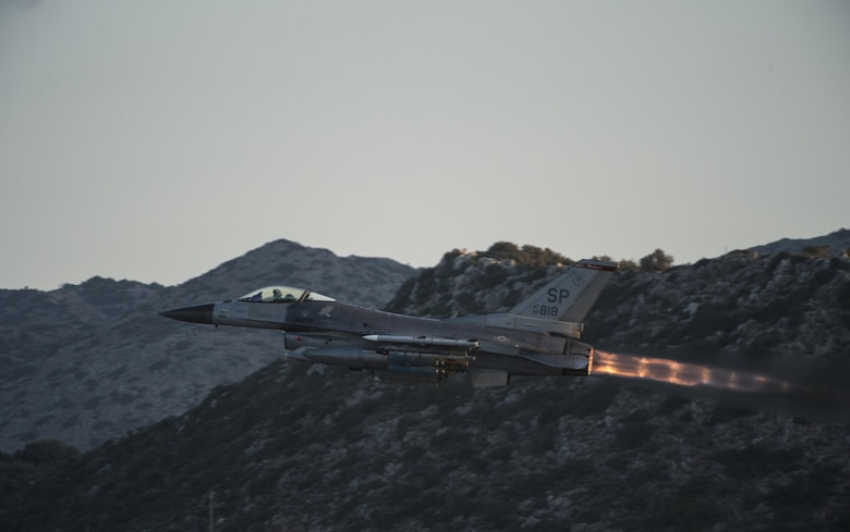 An F-16 Fighting Falcon from the 480th Expeditionary Fighter Squadron takes off from the flightline at Souda Bay, Greece, Feb. 1, 2016, during a flying training deployment. The training included more than 15 aircraft launches a day as part of the training between the U.S. and Hellenic air forces. (U.S. Air Force photo/Staff Sgt. Christopher Ruano)