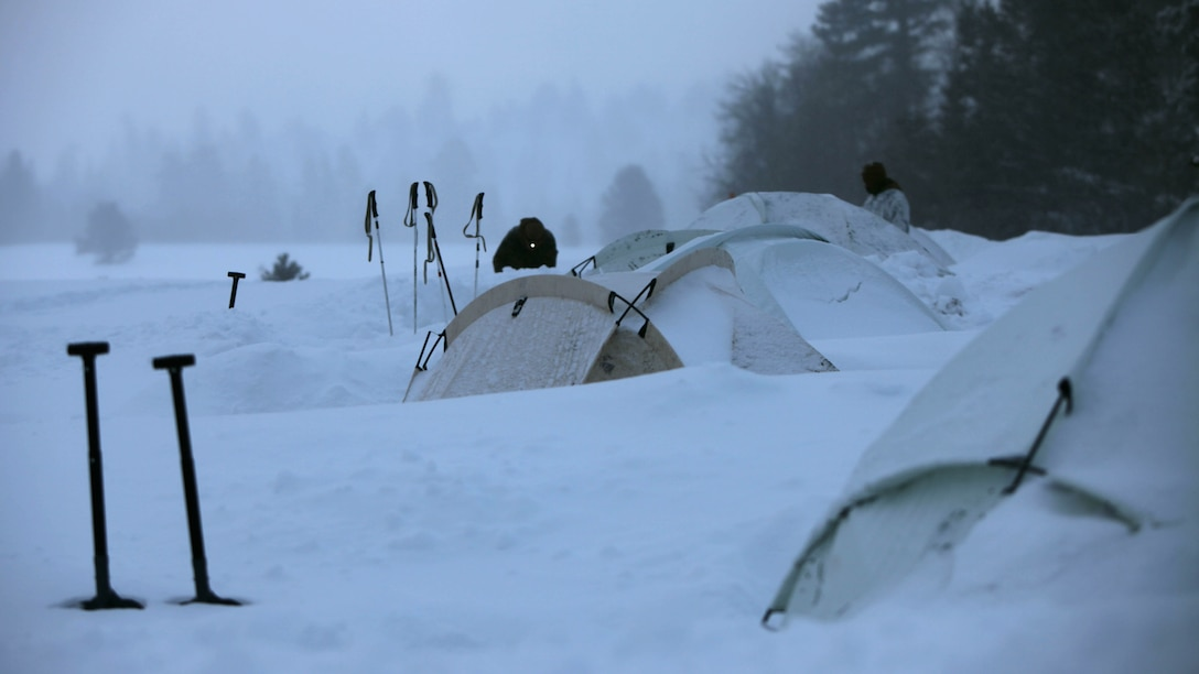 Marines inspect the areas around their tents during cold weather training at Marine Corps Mountain Warfare Training Center, California, Jan. 21, 2016. The cold weather training done in the Sierra Mountains is a warm-up to Exercise Cold Response 1-16 in Norway. Nearly 80 Marines with 2nd LAAD Bn. participated in the two-weeklong exercise that taught basic mobility in snow, defensive and offensive tactics as well as basic cold weather and high altitude conditions training.