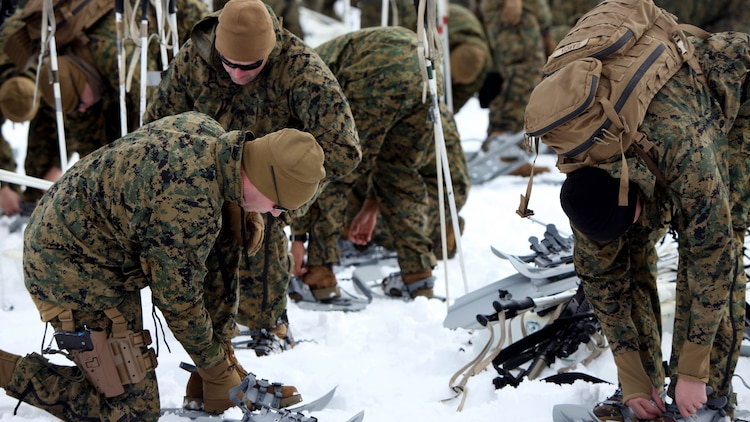 Marines put on snowshoes for the first time during cold weather training at Marine Corps Mountain Warfare Training Center, California, Jan. 21, 2016. The cold weather training done in the Sierra Mountains is a warm-up to Exercise Cold Response 1-16 in Norway. Nearly 80 Marines with 2nd LAAD Bn. participated in the two-weeklong exercise that taught basic mobility in snow, defensive and offensive tactics as well as basic cold weather and high altitude conditions training.