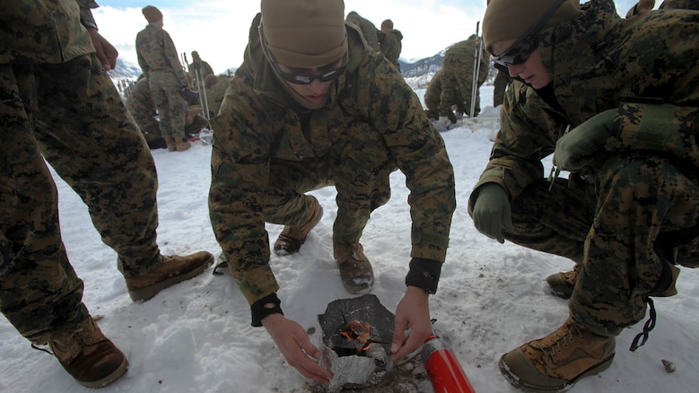 Cpl Michael B. Jaques and his teammate Cpl. Justin Resnick puts the finishing touches on a fire during cold weather training at Marine Corps Mountain Warfare Training Center, California, Jan. 21, 2016. The cold weather training done in the Sierra Mountains is a warm-up to Exercise Cold Response 1-16 in Norway. Nearly 80 Marines with 2nd LAAD Bn. participated in the two-weeklong exercise that taught basic mobility in snow, defensive and offensive tactics as well as basic cold weather and high altitude conditions training. Both Jaques and Resnick are low altitude air defense gunners with 2nd LAAD Bn.
