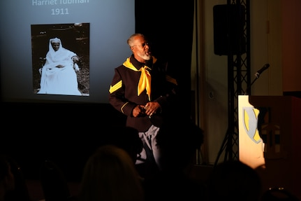 """Joseph Chapman portrays a Buffalo Soldier during the 7th Mission Support Command's African American/Black History Month observance February 5, 2016 on Daenner Kaserne in Kaiserslautern, Germany. This year's theme is """"Hallowed Grounds: Sites of African American Memories."""" (Photo by Sgt. 1st Class Matthew Chlosta, 7th Mission Support Command Public Affairs)"""