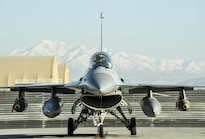 Air Force Lt. Col. Thomas Wolfe is ready to taxi his F-16 Fighting Falcon aircraft on Bagram Airfield, Afghanistan, Feb. 1, 2016. Air Force photo by Tech. Sgt. Nicholas Rau